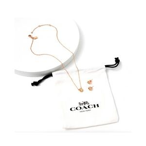 Coach Rose Gold Necklace and Earrings Set
